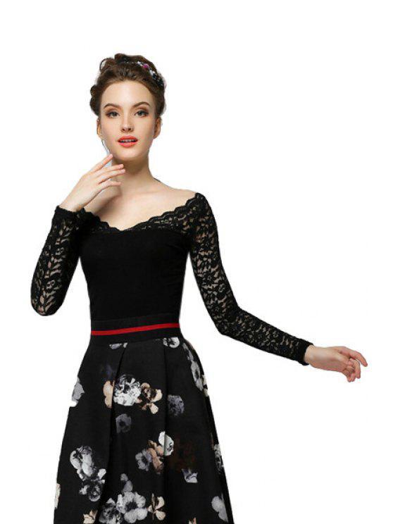 ladies Lace Splicing V-Neck T-Shirt - BLACK S