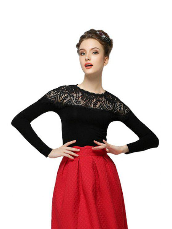 new Round Collar Lace Splicing T-Shirt - BLACK S