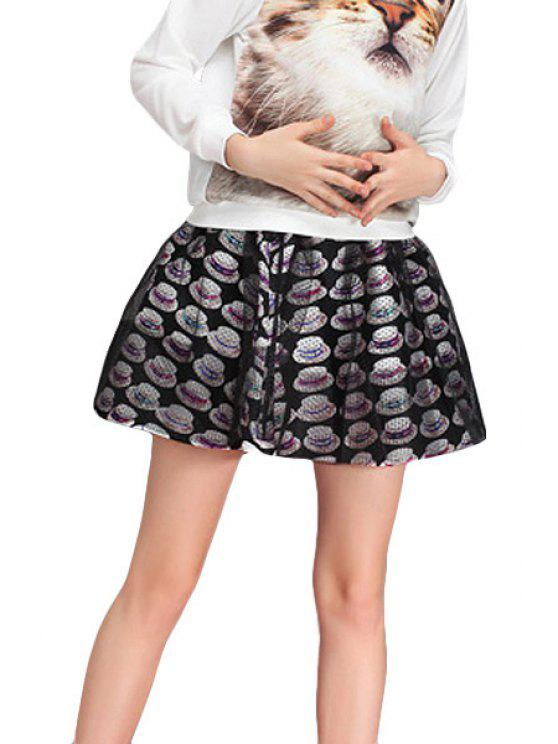 trendy Hat Print Voile Splicing A-Line Skirt - BLACK ONE SIZE(FIT SIZE XS TO M)