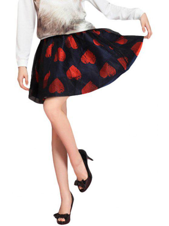 chic Heart Print Voile Splicing Skirt - COLORMIX ONE SIZE(FIT SIZE XS TO M)