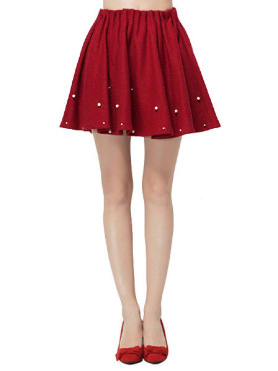 fancy Flouncing Solid Color Beaded Skirt - WINE RED ONE SIZE(FIT SIZE XS TO M)