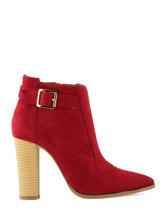 shops Suede Buckle Pointed Toe Ankle Boots - RED 35