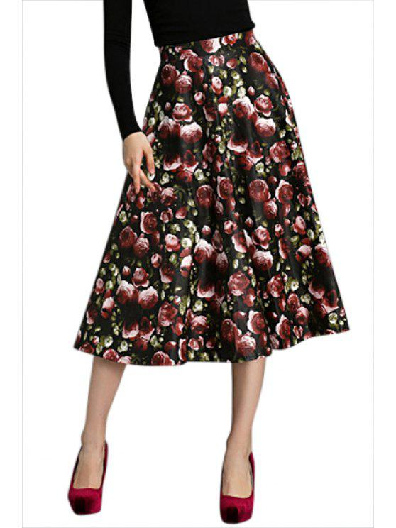 new A-Line Full Floral Print Skirt - COLORMIX S