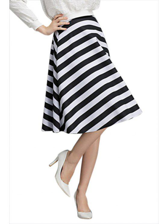 shop Striped Pattern A-Line Skirt - WHITE AND BLACK S