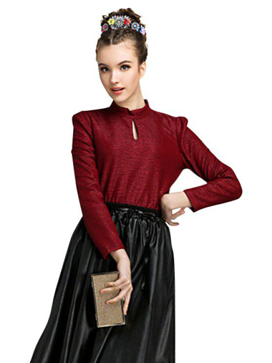shop Stand Collar Solid Color Zipper Blouse - WINE RED M