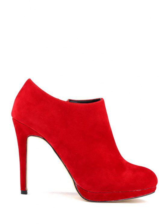 women's Suede Sexy High Heel Ankle Boots - RED 35