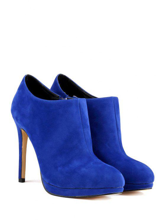 cfa3ee709 37% OFF] 2019 Suede Sexy High Heel Ankle Boots In BLUE | ZAFUL