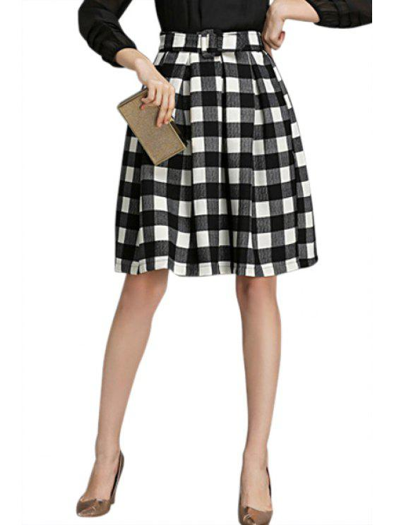 fancy Checked Pattern with Belt Skirt - BLACK S