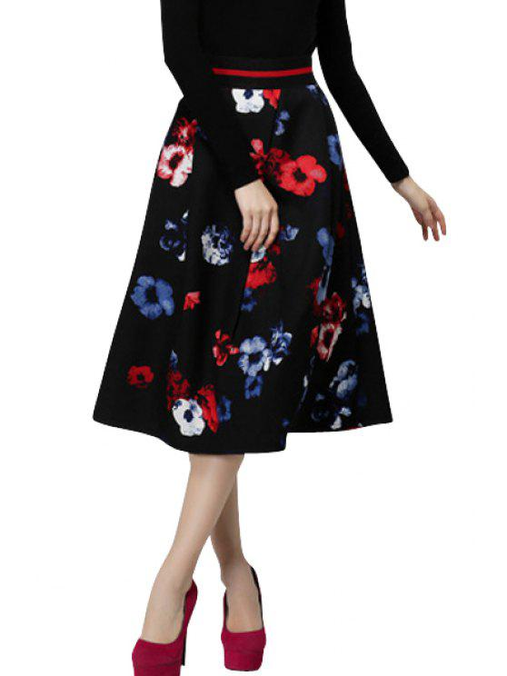 trendy Full Flower Print A-Line Skirt - RED S