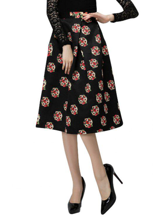 lady High Waisted Floral Print Skirt - BLACK S