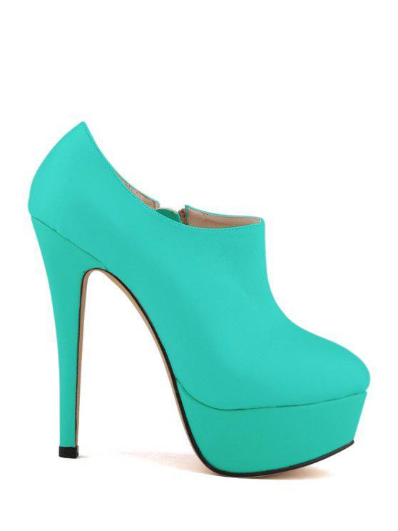 affordable Platform Solid Color Stiletto Heel Boots - GREEN 39