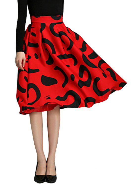 fashion Abstract Print High Waisted Skirt - RED XL