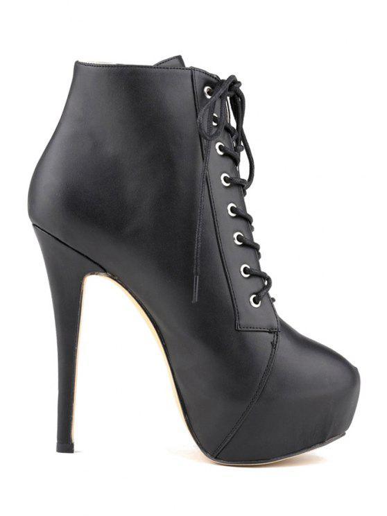 buy Sexy High Heel Platform Solid Color Boots - BLACK 35