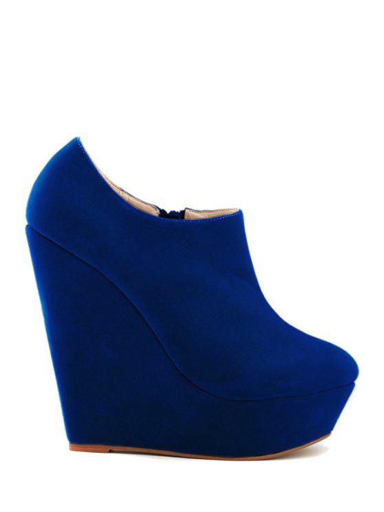 new Suede Wedge Heel Solid Color Boots - BLUE 37
