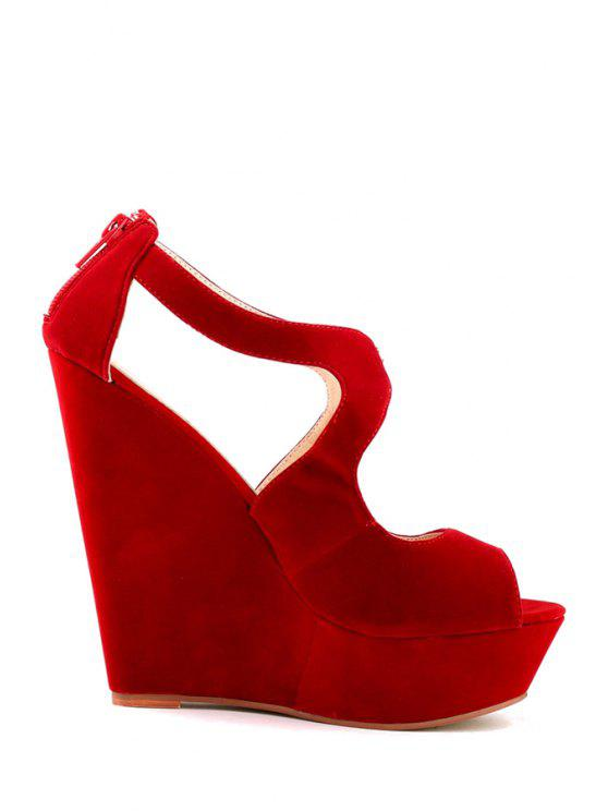 best Hollow Out Suede Wedge Heel Design - RED 35