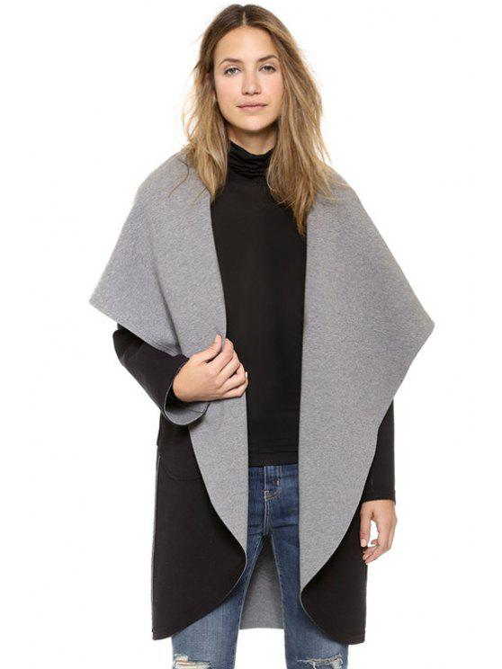 womens Turn-Down Collar Double-Faced Coat - BLACK AND GREY XS