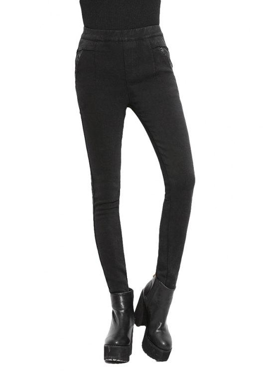 best Elastic Waist Black Flocking Leggings - BLACK M