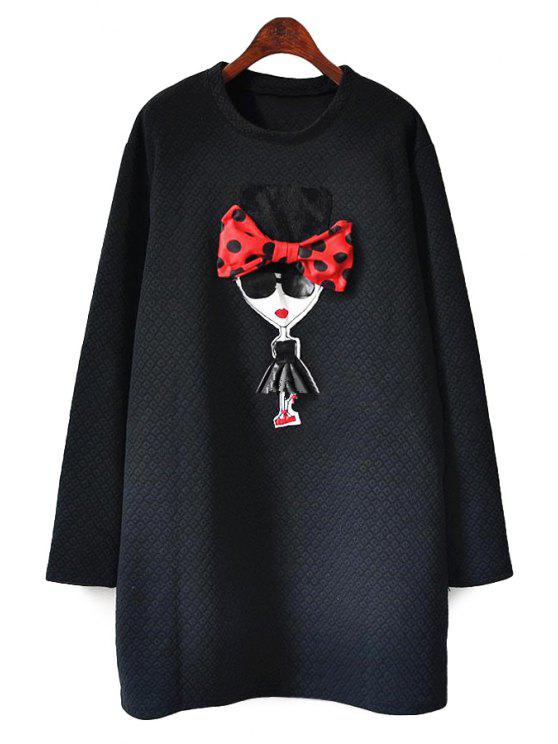 women's Cartoon Girl Pattern Long Sleeve Dress - BLACK ONE SIZE(FIT SIZE XS TO M)