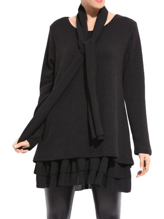 lady Long Sleeve Ruffles Splicing Scarf Dress - BLACK XL