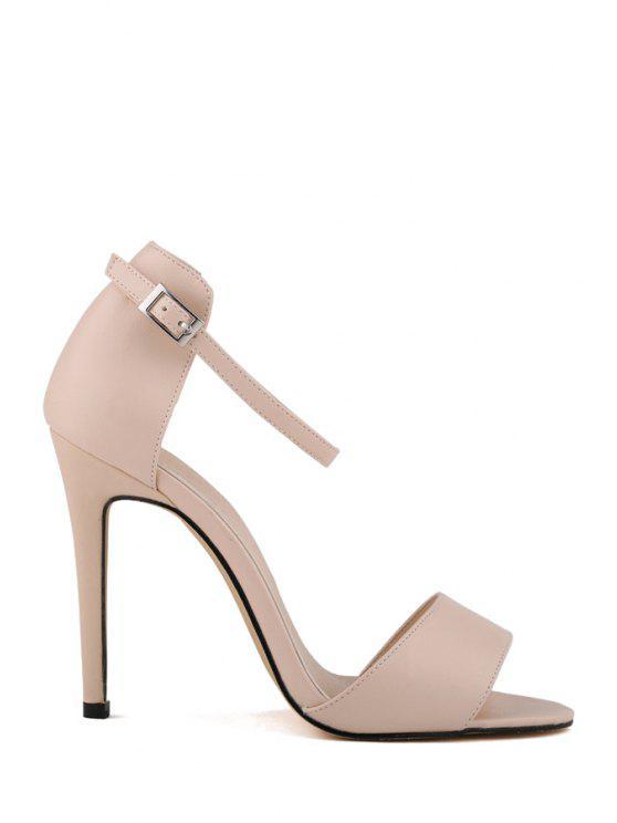 unique Stiletto Heel Buckle Solid Color Sandals - APRICOT 35