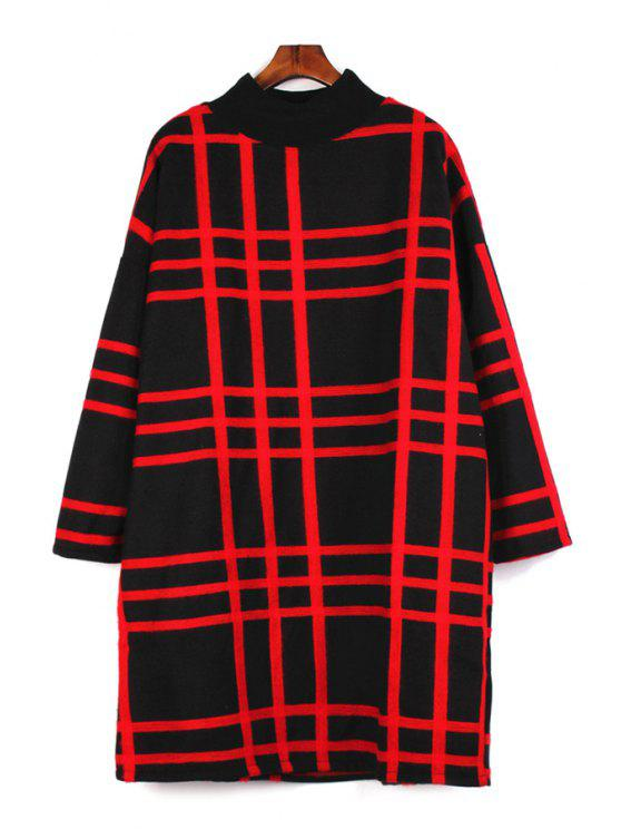 hot Stand Collar Checked Pattern Dress - RED ONE SIZE(FIT SIZE XS TO M)
