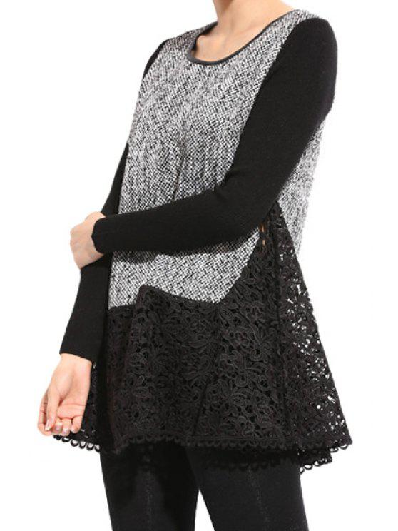 outfits Crochet Flower Splicing Long Sleeve Dress - BLACK L
