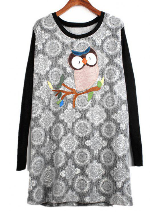 latest Owl Patch Design Long Sleeve Dress - GRAY ONE SIZE(FIT SIZE XS TO M)