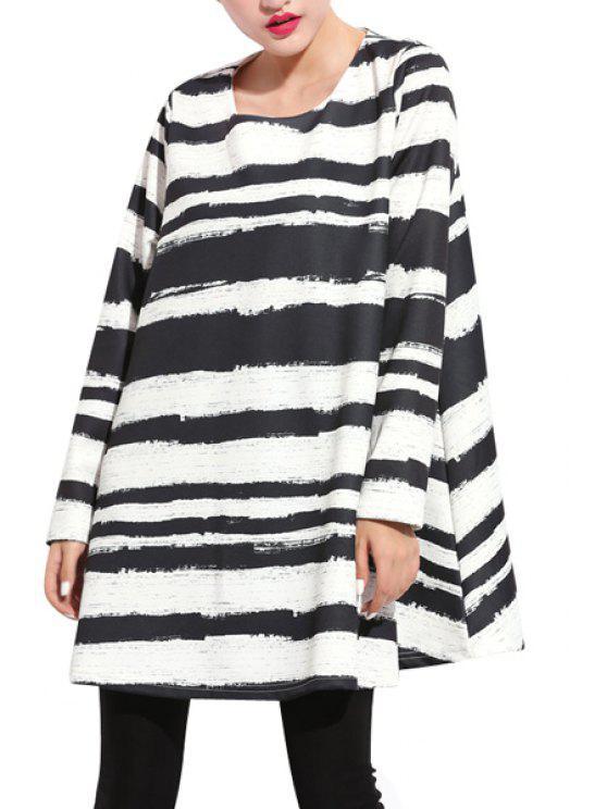 affordable Long Sleeve Striped Print Dress - STRIPE 2XL