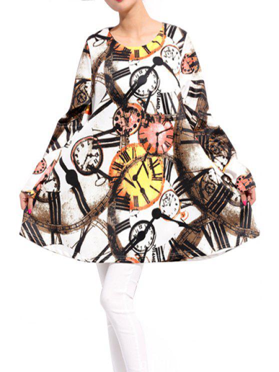 womens Watch Print Long Sleeve Dress - COLORMIX 3XL