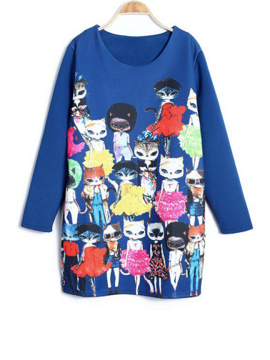 online Cartoon Cat Print Long Sleeve Dress - BLUE XL