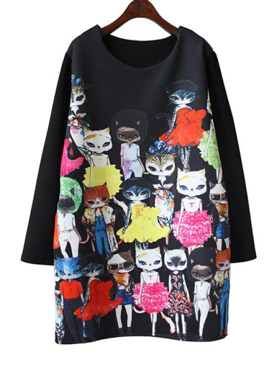 outfit Cartoon Cat Print Long Sleeve Dress - BLACK 2XL