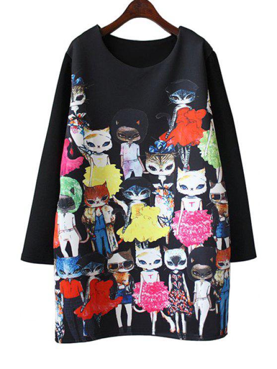 outfit Cartoon Cat Print Long Sleeve Dress - BLACK 2XL