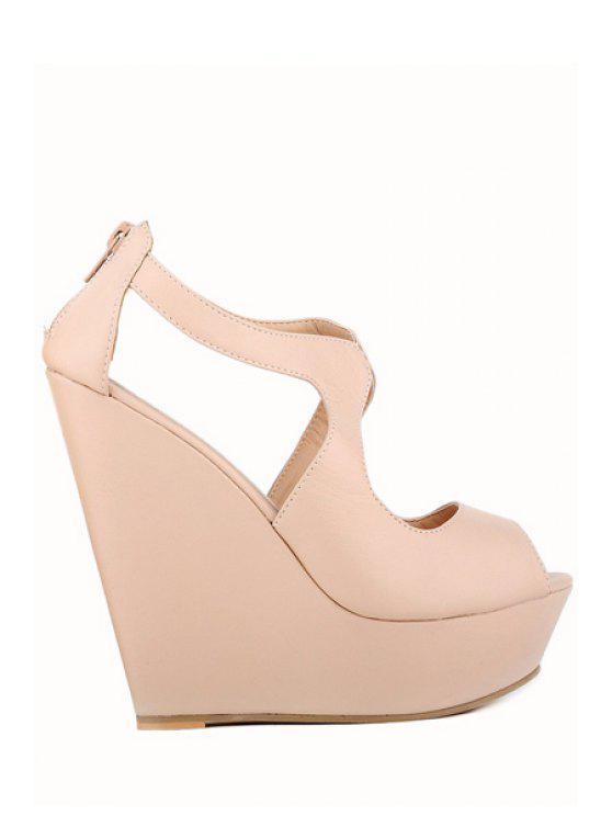 online Wedge Heel Solid Color Peep Toe Sandals - APRICOT 37