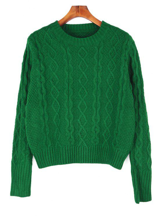 women's Solid Color Round Collar Sweater - GREEN ONE SIZE(FIT SIZE XS TO M)