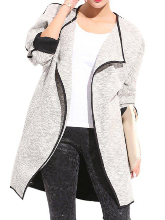 chic Color Block Turn-Down Collar Coat - GRAY XL