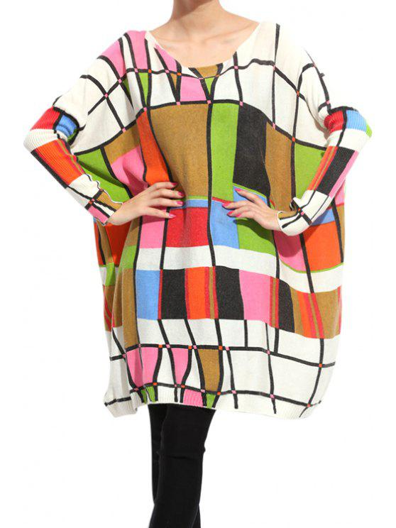 best Colorful Print Long Sleeve Sweater - COLORFUL ONE SIZE(FIT SIZE XS TO M)