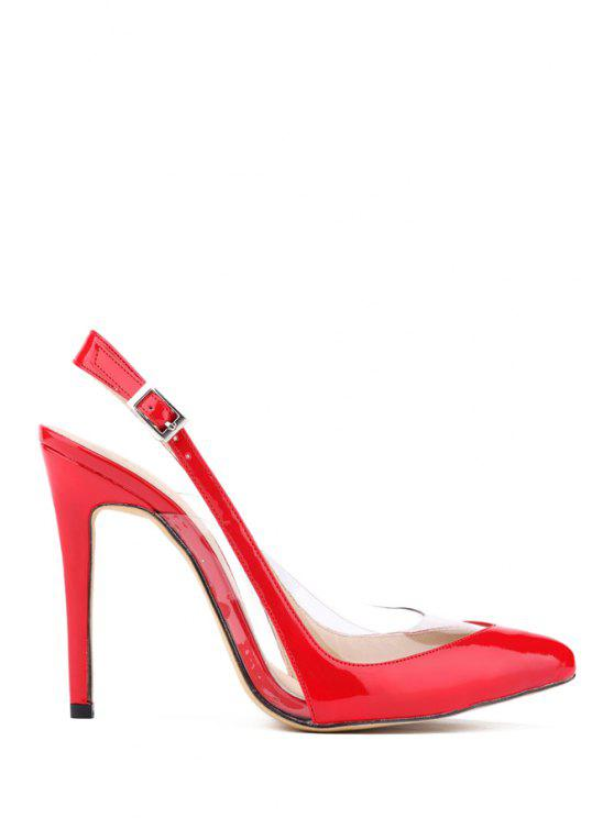 trendy Transparent Pointed Toe Patent Leather Pumps - RED 35