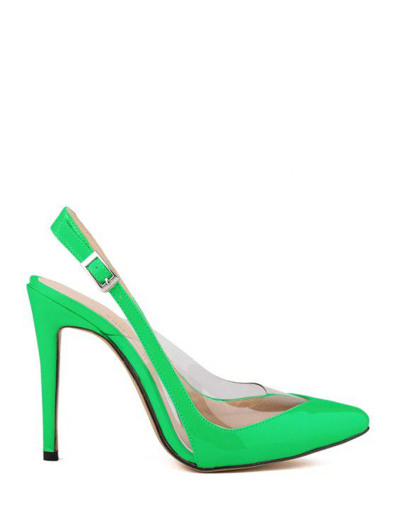 fashion Transparent Pointed Toe Patent Leather Pumps - GREEN 37