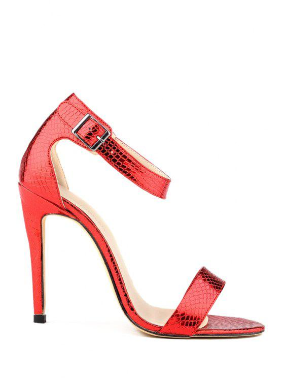 outfit Sexy High Heel Buckle Sandals - RED 35