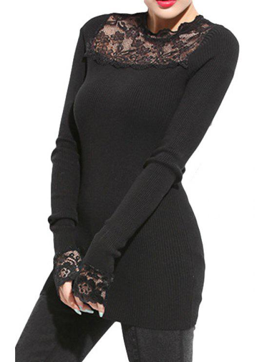 online Lace Splicing Long Sleeve Knitwear - BLACK ONE SIZE(FIT SIZE XS TO M)