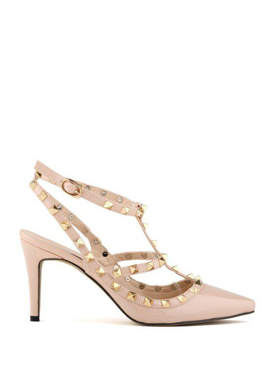 trendy Hollow Out Rivets Stiletto Heel Pumps - APRICOT 39