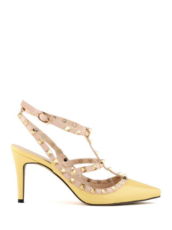outfit Hollow Out Rivets Stiletto Heel Pumps - YELLOW 40
