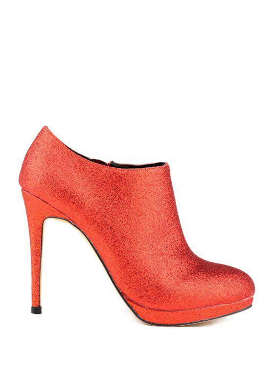 shop Bling-Bling Stiletto Heel Zipper Boots - RED 35