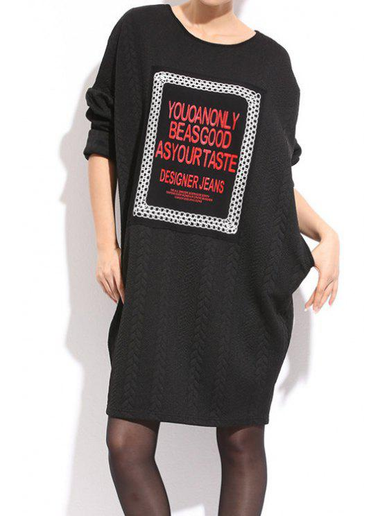ladies Long Sleeve Letter Pattern Dress - BLACK ONE SIZE(FIT SIZE XS TO M)