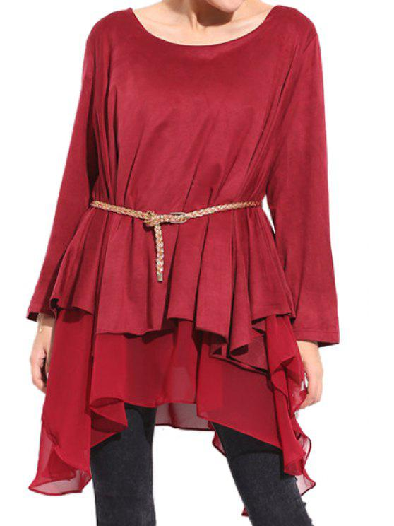 lady Solid Color Chiffon Splicing Dress - WINE RED XL