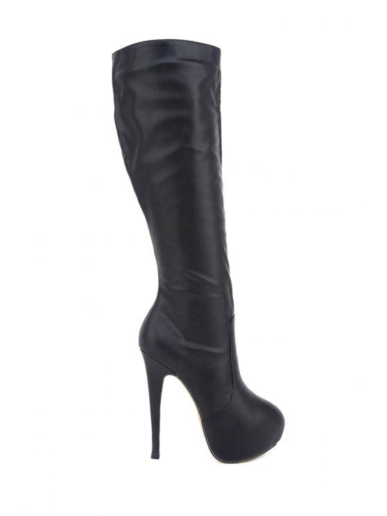 fancy Platform Stiletto Heel Solid Color Boots - BLACK 35