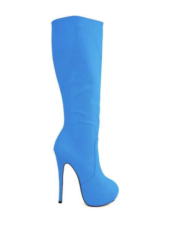 a31409fd46e1 41% OFF  2019 Platform Stiletto Heel Solid Color Boots In BLUE