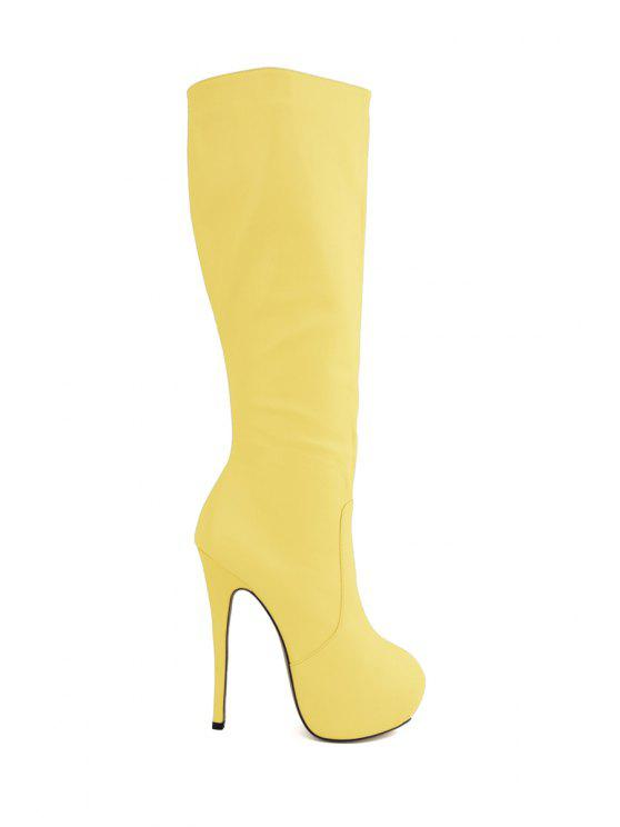1696ac19fc5d 41% OFF  2019 Platform Stiletto Heel Solid Color Boots In YELLOW