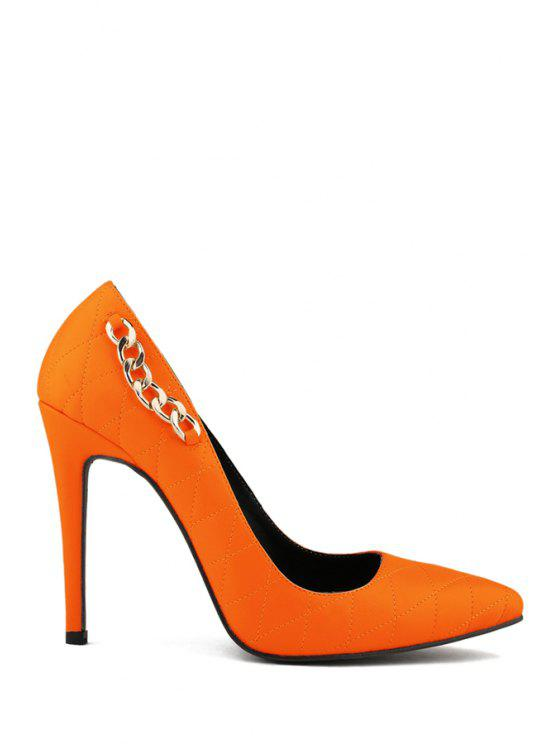 women's Pointed Toe Chain Checked Pumps - ORANGE 40