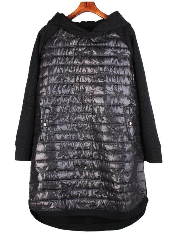fashion Splicing Long Sleeve Black Hoodie - BLACK ONE SIZE(FIT SIZE XS TO M)